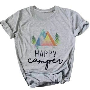 Tops - GRAPHIC TEE Happy Camper Gray T-Shirt